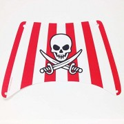 Lego Parts: Cloth Sail Bottom 28 X 18 With Red Stripes, Skull And Crossed Swords Pattern