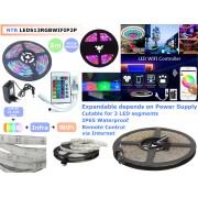 NTR LEDS13RGBWIFIP2P Vízálló okos színes RGB LED szalag 300LED 24W 12V DC 5m + Táp + Vezérlő + App