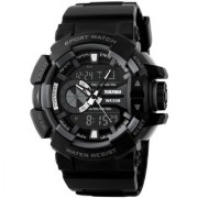 Shhira Skmei Black-Gray Silicon Analog-Digital Sports Watch for Men