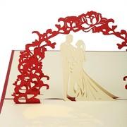 ELECTROPRIME® Red 3D Bride and Groom Embossed Invitations Cards Envelope Set Wedding Favor