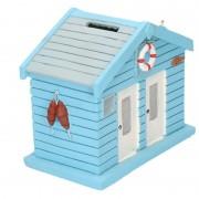 Geen Spaarpot strandhuis blauw 13 cm