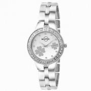 Manada Women's Silver Chain Stainless Steel Rhinestones Unique Flower Design Analog Quartz Wrist Watch Round Shape