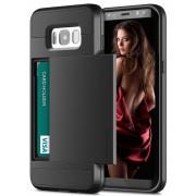 Black Shock Proof Slide Card Armor Case For Samsung Galaxy S8 Plus