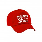 Bellatio Decorations Awesome 35 year old verjaardag pet / cap rood voor dames en heren