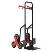 Ръчна количка за стълби, Стомана, Черна-Червена, 79 - 112 x 49 x 65 cm [pro.tec]®