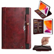 Multi-slot Wallet Retro PU Leather Shell Case with [Pen Pouch] for iPad 10.2 (2019) - Wine Red