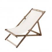 Maisons du Monde Chaise longue / sedia a sdraio pieghevole ecrù in legno massello di acacia Panama