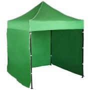 Párty stan 2x2m – oceľový, Zelená, 3 bočné plachty