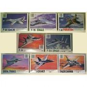 Set of 8 Plastic Model Fighter Jet Model Kits 1/144th scale