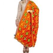 Weavers Villa Punjabi Hand Embroidery Phulkari Faux Chiffon Orange Dupatta Stoles