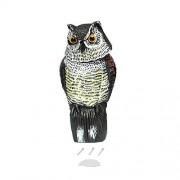 Lamijma Búho Realista señuelo con Cabeza giratoria Protección de jardín Repelente de Aves Pest Scarer Espantapájaros Caza señuelos para Cazador
