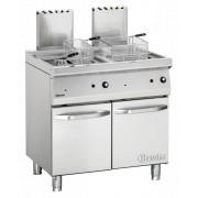 Bartscher Friteuse à Gaz Inox + 2 Paniers - Série 700 - 2x 15 Litres - 30kW - 800x700x850-900(h)mm
