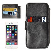 2 in 1 Separable Back Cover Card Slot Style PU Leather Case for iPhone 6 & 6S(Black)