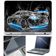 FineArts Laptop Skin 15.6 Inch With Key Guard & Screen Protector - Car Water Blue on Bottom
