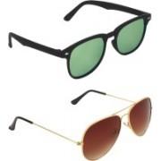 Zyaden Rectangular, Aviator Sunglasses(Green, Brown)