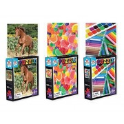 Three 100-Peice Jigsaw Puzzle Set - 3 Seperate Themes: Horses & Outdoors, Candy & Sweets, Painting & Crayons, Jigsaw Puzzles for Kids