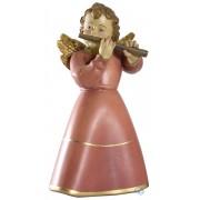 Scultura in legno Angelo celeste con flauto 9 cm color