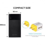 FPX 13000 mAh Noir Power Bank Black With Combo Wall Charger 2.4Amp