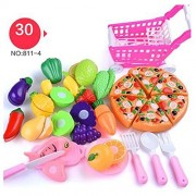 ED Kitchen Toys Plastic Kitchen Cutting Fruits and Vegetables Set Pretend Food Playset for Children Girls Boys Educational Early Age Basic Skills Development 30 PCS