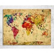 Tablou harta lumii in culori vintage 80 x 60 cm