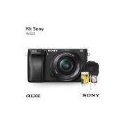 Câmera digital Sony Alpha A6300 Mirrorless com lente 16-50mm, Cartão de 32gb (C/10), Bolsa, Tripé de mesa e Kit Limpeza
