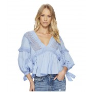 Free People Drive You Mad Blouse Blue