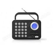 NEDIS RDFM1310WT Radio FM, 3 W, Horloge et Alarme, Port USB et Logement Carte microSD, Noir/Blanc