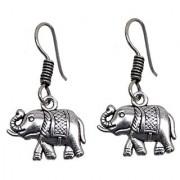 Lucky Jewellery Black Metal Silver Oxidised Elephant Design Earring