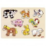 Puzzle lemn Animale de la ferma, 8 piese
