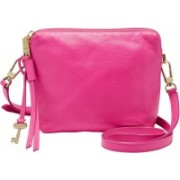 Fossil Women Pink Genuine Leather Sling Bag