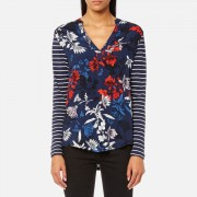 Joules Women's Beatrice Jersey/Woven Mix Top - French Navy Fay Floral - UK 10 - Blue