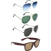 Zyaden Aviator, Wayfarer Sunglasses(Blue, Green, Black, Brown)