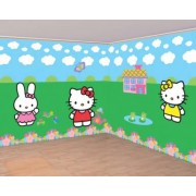 Vegaoo Set Hello Kitty muurdecoraties One Size