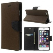 Mercury Goospery Etui bibliothèque iPhone 6 Plus & 6s Plus Marron portefeuille noir