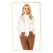 Bluza dama PrettyGirl alba office cu croi larg din material satinat cu guler tip esarfa