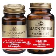Solgar Pachet Methylcobalamin (Vitamin B-12) 1000g 30 tablete + Magnesium cu B6 100 tablete GRATIS