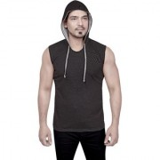 Dudlind Mens Casual Hooded Sleeveless T-Shirt Colour Dark Grey Regular Fit | Casual Shirts for Mens Regular wear and Party wear