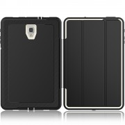 Tri-fold Stand Protective Leather Smart Cover for Samsung Galaxy Tab A 10.5 (2018) T590 T595 - Black / White