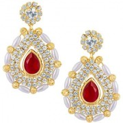 Sukkhi Fabulous Gold Plated Earrings With AD and White Pearls