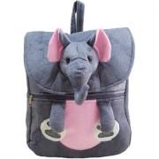 Ultra Felt Velvet School Bag with Elephant Soft Toy (Grey)