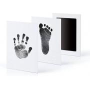 Baby fotokaartje hand en voetafdruk- kleur zwart - tafdruk - inkt kraamcadeau - hoeft niet schoon te maken - 2 kaartjes