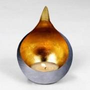 Lambert CALDERA Windlicht Ø 140 H: 200 mm, grau gebürstet/gold 40608