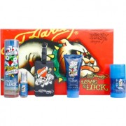 Christian Audigier Ed Hardy Love & Luck Man lote de regalo I. eau de toilette 100 ml + eau de toilette 7,5 ml + gel de ducha 90 ml + deo barra 78 g + etiqueta para maleta
