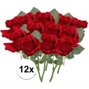 Bellatio flowers & plants 12x Rode rozen kunstbloemen 30 cm