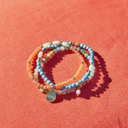 LOBERON Armband, set van 3 Pía / koraal/turquoise