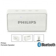 PHILIPS-WIRELESS-SPEAKER-BLUETOOTH-RECHARGEABLE-SPEAKER-PHONE-AUX-WHITE BT64-W