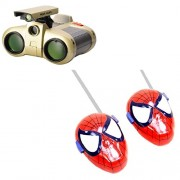combo of Binocular With Night Vision and red Walkie Talkie set for kids
