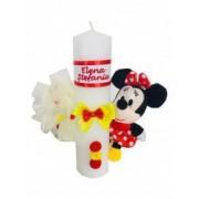 Lumanare botez personalizata prin broderie cu nume si cu jucarie Disney Minni Mouse Dede Brodi Star