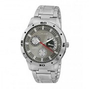 Crude Analog Grey Dial Watch-rg477 With Stainless Steel Strap