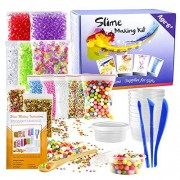 Pllieay 15 Pack Kit for Slime Making Including Fishbowl Beads, Foam Balls, Storage Containers, Confetti, Fruit Slice, Tools and Wooden Spoon(Contains No Slime)